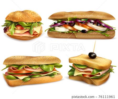 Healthy Fresh Ingredient Sandwiches Realistic Set 76111961