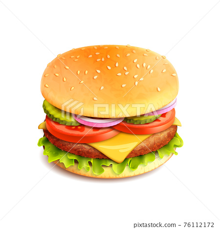 Hamburger Realistic Isolated 76112172