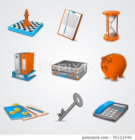 Business realistic icons 76112440