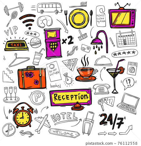 Hotel service icons doodle sketch 76112558