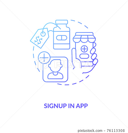 Signup in app concept icon 76113308