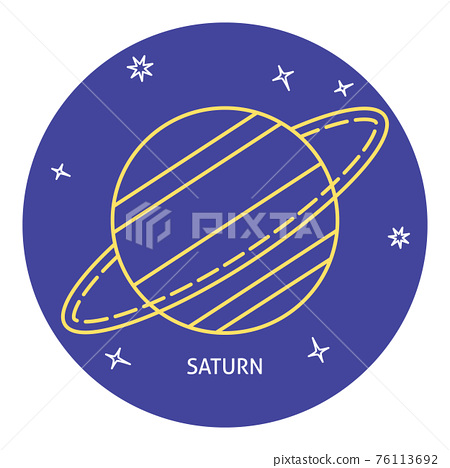 Planet Saturn icon in thin line style 76113692