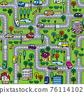 City seamless pattern. Roads with cars background 76114102