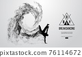 Abstract silhouette of a breakdancer, man, bboy, breaker, breaking on the white background from particles, dust, smoke. Hip-hop dancer. Background can be changed to any other. Vector illustration 76114672