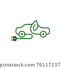 Electric car icon in thin line style 76117237