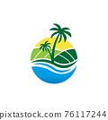 Beach farm logo design concept vector 76117244