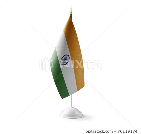 Small national flag of the India on a white background 76119174