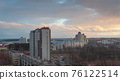 Minsk roofs of houses at sunset 76122514