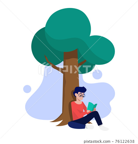 Young man sitting under a tree and reading a book 76122638