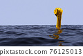 Surreal vaporwave concept with golden hand gesturing with fist from underwater. Blue sea or ocean with protesting angry fist. 3D illustration. 76125013