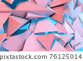Abstract background with 3D shapes flying in pink and blue light as a messy array or chaotic structure for any pastel backdrop. 3D illustration. 76125014