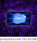 Scifi Background With Glowing Network And Brain Scan 76126188