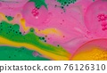 Fantastic structure of colorful oil paint and ink bubbles, chaotic motion, abstract colorful paint 76126310