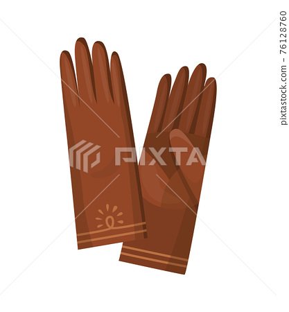 Winter gloves or leather mittens for women as hand wear in winter or autumn season. Vector design symbols for web isolated on a white background 76128760