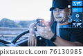 Truck driver Find location on smartphone 76130985