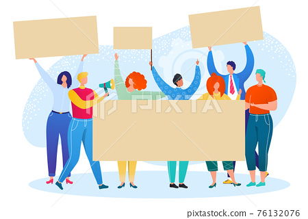 Crowd people group protest with banner, activist demonstration vector illustration. Man woman character hold placard at strike,political revolution. 76132076