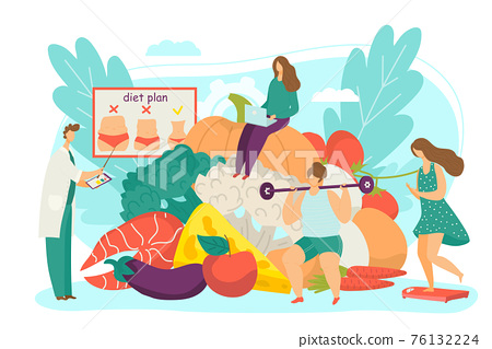 Doctor develop healthy diet, nutritionist show food meal for woman weight loss, vector illustration. Flat consultation for nutrition plan 76132224