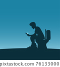 man sitting on toilet bowl and using smartphone for long time in blue gradient shade. Health concept. 76133000
