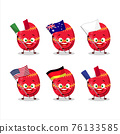 Red easter egg cartoon character bring the flags of various countries 76133585