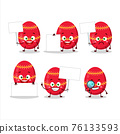 Red easter egg cartoon character bring information board 76133593