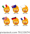 Orange easter egg cartoon character bring the flags of various countries 76133674