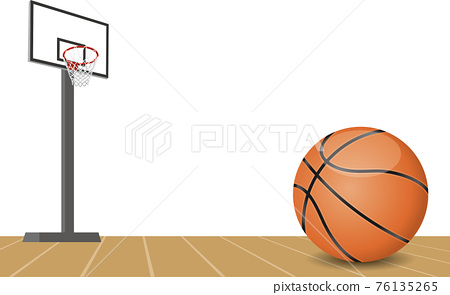 籃球和球門的圖像插圖 76135265