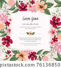 Vector illustration of a floral frame in spring for Wedding, anniversary, birthday and party. Design for banner, poster, card, invitation and scrapbook 76136850