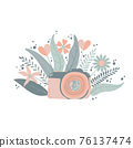 Cute colorful dslr photo camera with fllowers in flat cartoon style. Vector hand drawn camera with floral illustration with pastels colors. Isolated on white background. 76137474