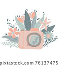 Cute colorful dslr photo camera with fllowers in flat cartoon style. Vector hand drawn camera with floral illustration with pastels colors. Isolated on white background. 76137475
