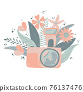 Cute colorful dslr photo camera with fllowers in flat cartoon style. Vector hand drawn camera with floral illustration with pastels colors. Isolated on white background. 76137476
