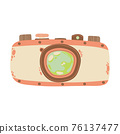 Cute retro photo camera icon in cartoon flat design. Old style camera with battery grip clip art in doodle style. Vector illustration isolated on white background. 76137477