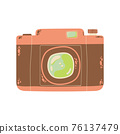Cute photo camera icon in cartoon flat design. DSLR camera clip art in doodle style. Vector illustration isolated on white background. 76137479