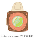 Cute retro photo camera icon in cartoon flat design. Old style camera with battery grip clip art in doodle style. Vector illustration isolated on white background. 76137481