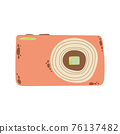 Cute compact photo camera icon in cartoon flat design. Digital camera with battery grip clip art in doodle style. Vector illustration isolated on white background. 76137482