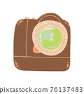 Cute photo camera icon in cartoon flat design. DSLR camera with battery grip clip art in doodle style. Vector illustration isolated on white background. 76137483