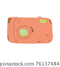 Cute compact photo camera icon in cartoon flat design. Digital camera with battery grip clip art in doodle style. Vector illustration isolated on white background. 76137484