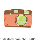 Cute compact photo camera icon in cartoon flat design. Digital camera with battery grip clip art in doodle style. Vector illustration isolated on white background. 76137485