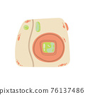 Cute instant photo camera icon in cartoon flat design. Instant camera with battery grip clip art in doodle style. Vector illustration isolated on white background. 76137486