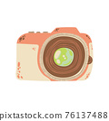 Cute photo camera icon in cartoon flat design. DSLR camera clip art in doodle style. Vector illustration isolated on white background. 76137488