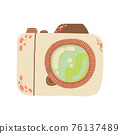 Cute photo camera icon in cartoon flat design. DSLR camera clip art in doodle style. Vector illustration isolated on white background. 76137489