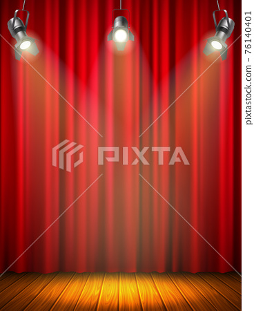 Illuminated Empty Stage With Red Curtain 76140401