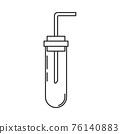 Line medical pharmaceutica icon flask, tube. Professional equipment symbol. Science, pharmacy, medic, chemistry background emblem element. Laboratory glass. Vector medical outline illustration. 76140883