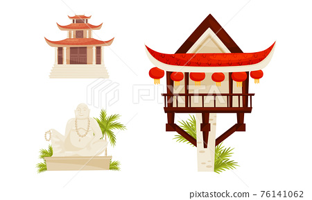 Vietnam Country Landmarks with Pagoda and Buddha Statue Vector Set 76141062