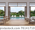 Modern living and dining room with pool terrace background 3d render 76141710
