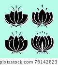 Set of black lotus silhouette with white contour and decors. Water lily icons, isolated flower symbols collection for design. Vector illustration 76142823