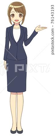 一位女士穿著西裝來展示 76143193