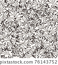 Black and White seamless pattern nature plants ornament, leaves grass branches. Repeating background 76143752