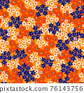 Seamless pattern Abstract painted orange blue white red flowers. Floral repeating background. Ditsy 76143756