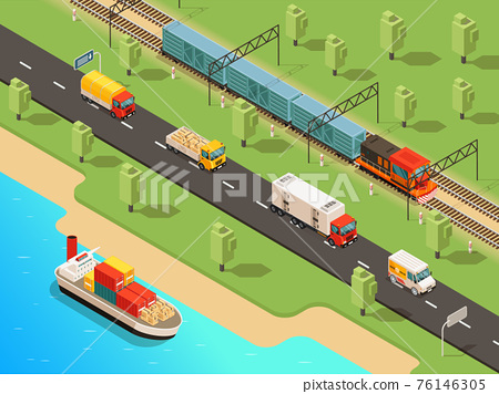Isometric Logistic Transportation Concept 76146305