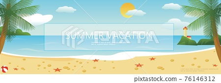 Flat Tropical Beach Colorful Background 76146312